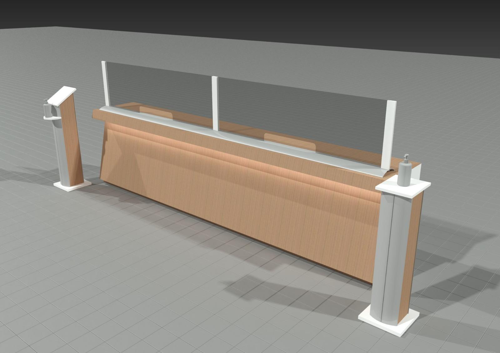 Barriere Protettive per Uffici con dispenser disinfettante